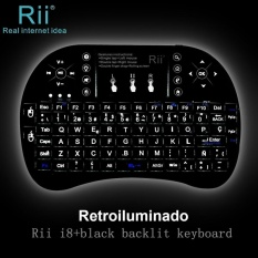 Spanish ES Layout Backlit Rii mini i8+ Black wireless Gaming Keyboard For Gaming smart TV PC - intl