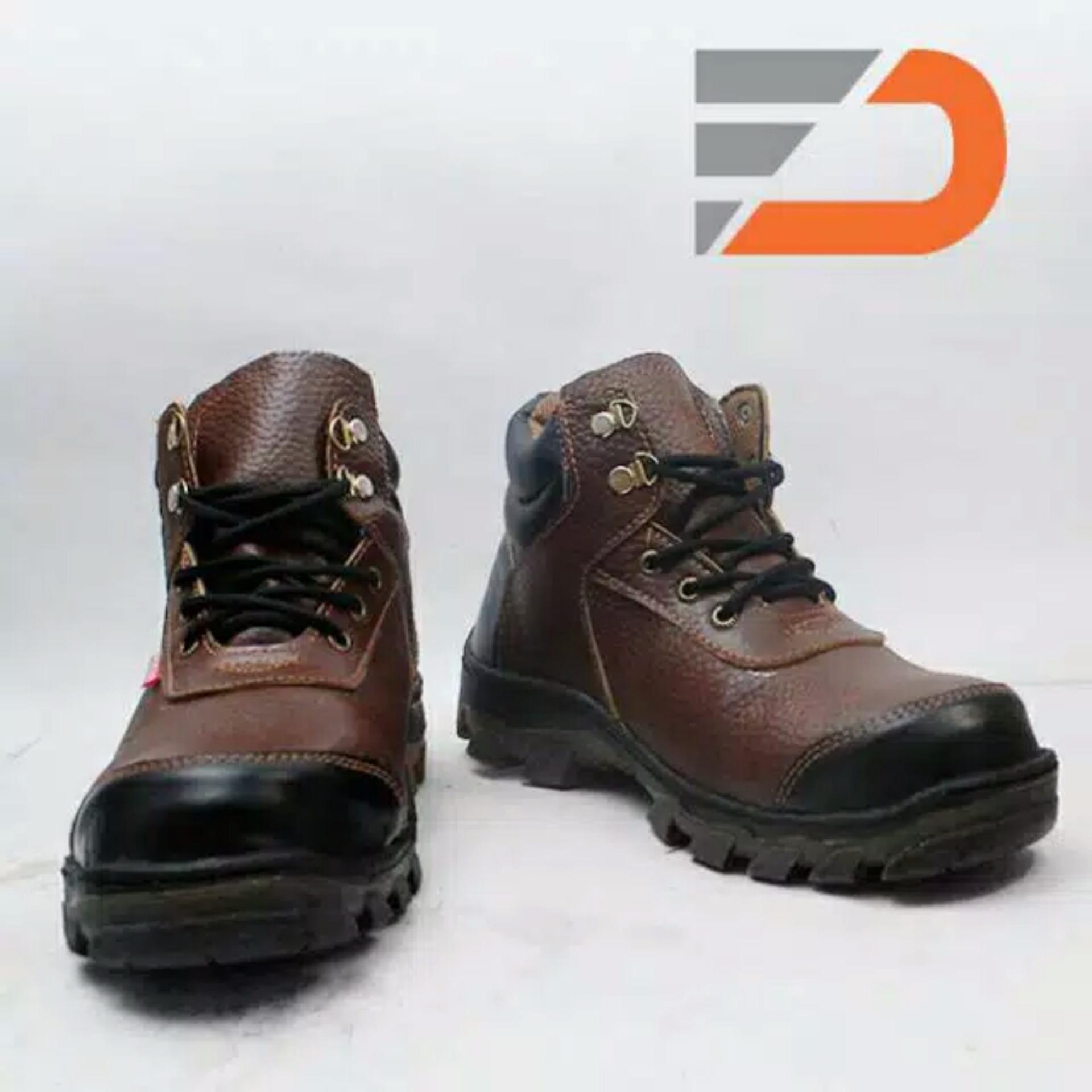 Spesifikasi Spartan Sepatu Safety Boots Sepatu Pria Berkualitas Kulit Sapi Asli Coklat Terbaik