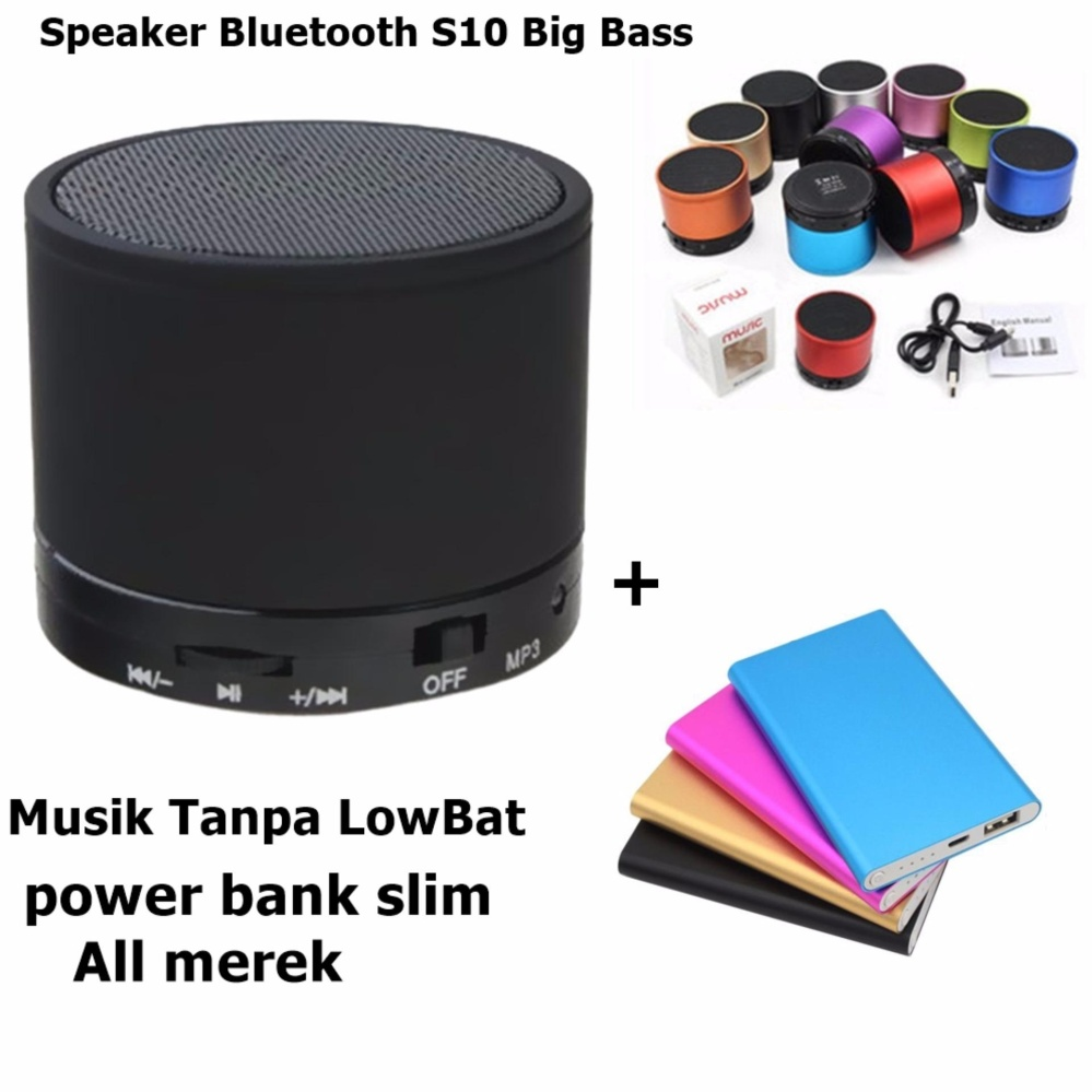 Speaker Bluetooth S10 Big Bass + Power bank slim