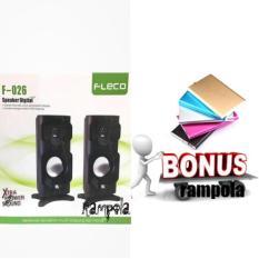 SPEAKER MINI MEGA BASS FLECO F-026 PC KOMPUTER HP TV  FREE+POWERBANK SLIM