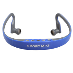 Jual Sports Mp3 Player Headphone Sangkutan Telinga Dengan Headset Dan Slot Kartu Tf Fm Biru Murah