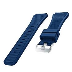 Olahraga Soft Tali Pengganti untuk Jam Tangan Tali Watchband Gelang Silikon untuk Samsung Gear S3 Frontier Klasik Navy Blue-Intl