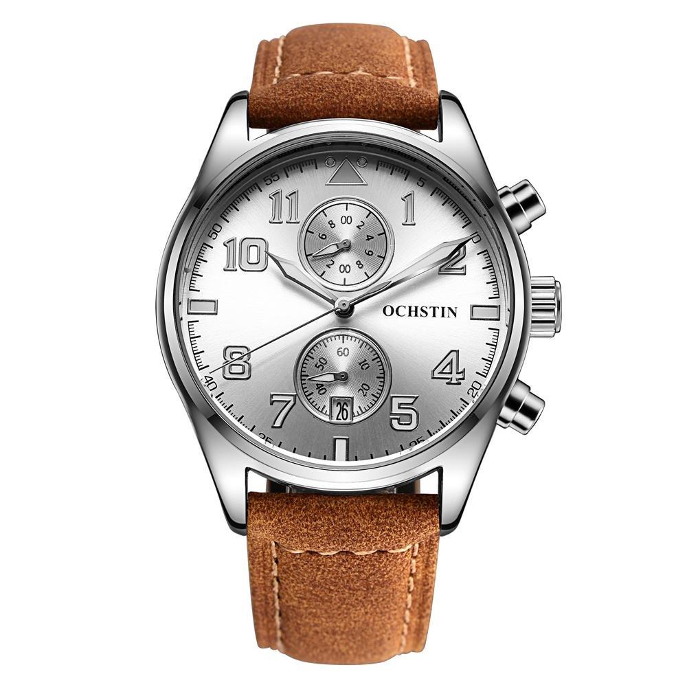 Sqamin Kecepatan Jual Lewat Ledakan Yang Besar Swiss Watch Dial QUARTZ Watch Fashion Pria Sungguh Strap Tahan Air Watch Produsen Grosir (Putih) -Intl