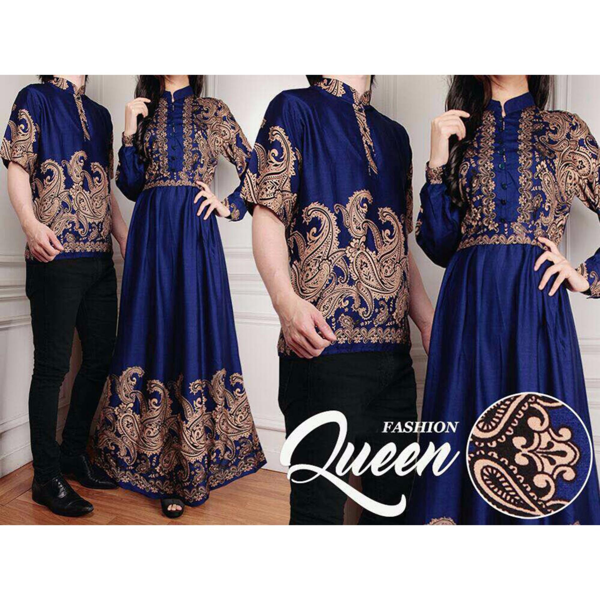 SR Collection Couple Batik Muslim Pria Wanita Queeny - Biru