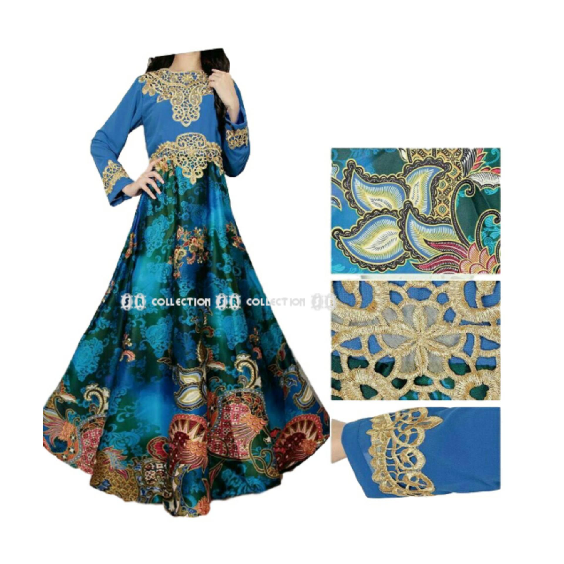 SR Collection Maxy Dress Gamis Muslim Wanita Lengan Panjang Afifah - Biru