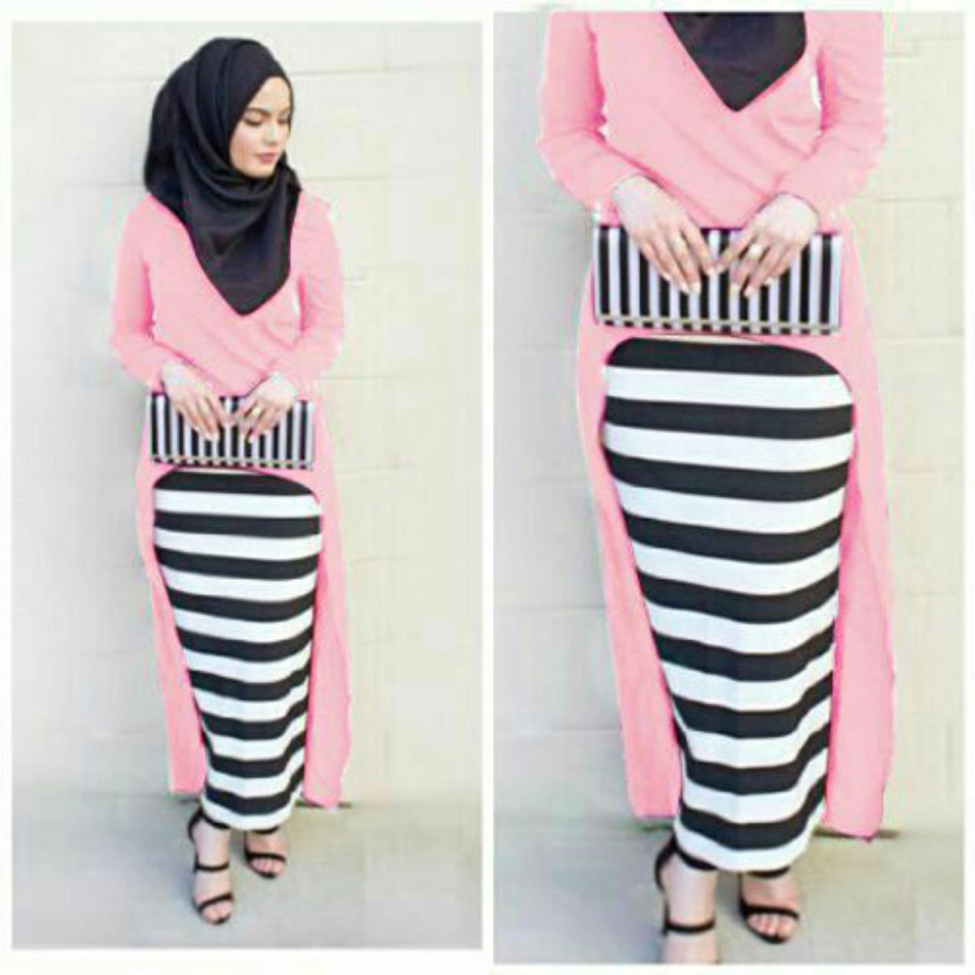 Beli Sr Collection Set Muslim Wanita 3 In 1 Ronia Gita Tunik Rok Pink Online