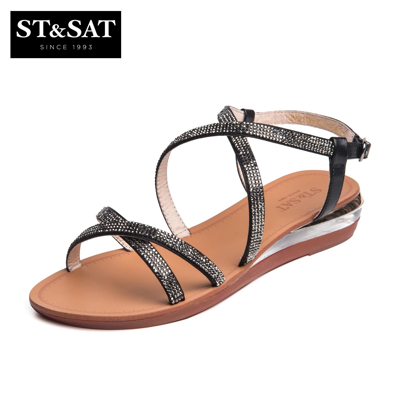 Situs Review St Sat Sn62110007 Batu Kristal Air Gesper Stagen Sepatu Wanita Lereng Dengan Sepatu 10 Hitam Sepatu Wanita Sendal Wanita