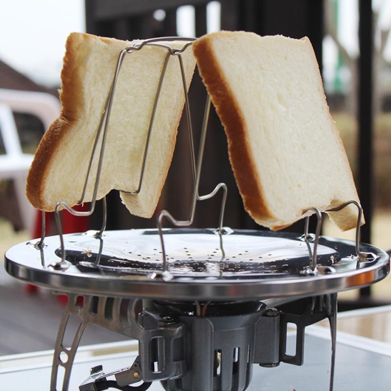 Stainless Steel Camping Toaster Rack 4 Slice Toast Baki Outdoor Piknik BBQ Lipat Roti Loaf Pan-Intl