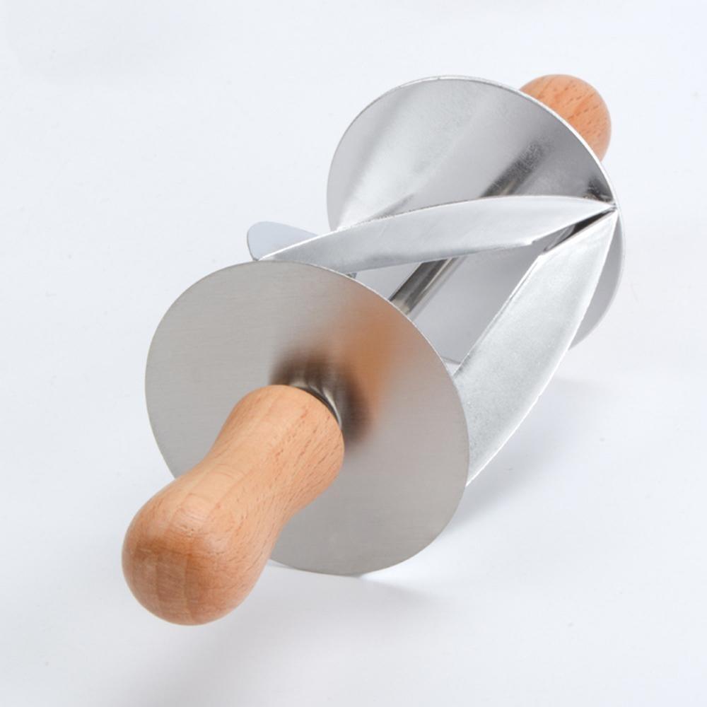 Anti Karat Croissant Bread Dough Pemotong dengan Pegangan Kayu Croissant Maker Bread Alat Multi-functional Dapur Toko Roti Gadget Segitiga penggulung Pemotong-Internasional