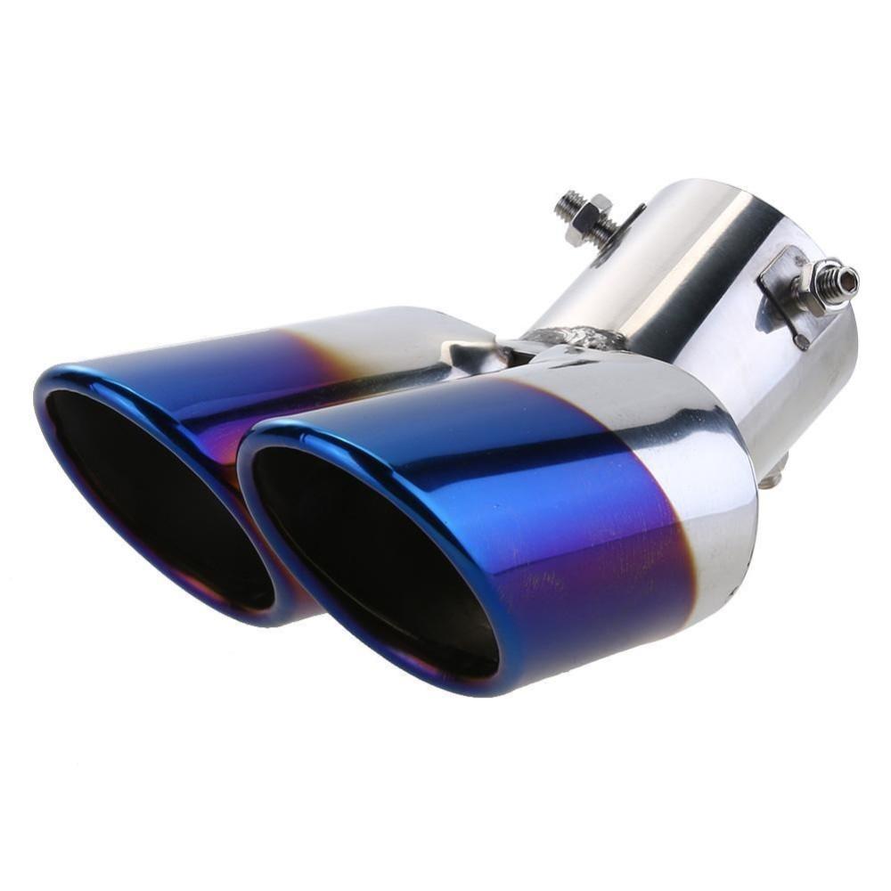 Review Pada Stainless Steel Dual Pipa Knalpot Mobil Rear Tail Knalpot Tip Tenggorokan Liner Intl