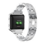 Situs Review Tali Pergelangan Tangan Tali Baja Stainless Steel Dengan Berlian Imitasi Band Untuk Fitbit Blaze Smart Fitness Watch Intl