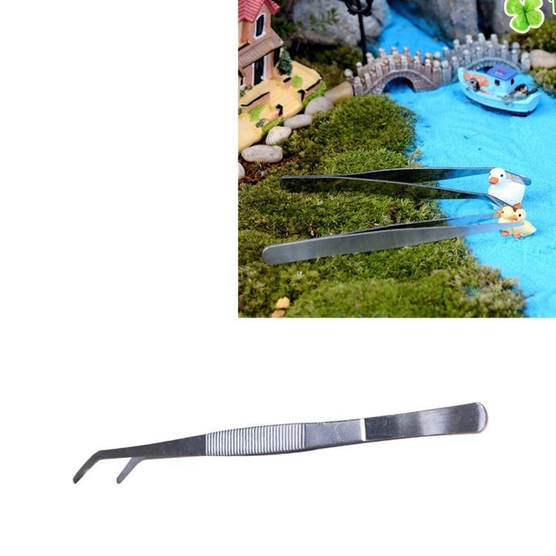 Stainless Steel Tanaman Cleaner Tool Bengkok Tweezer Tanaman Alat Pembersih Aquarium Alat Perawatan Marine Aquarium Tanaman