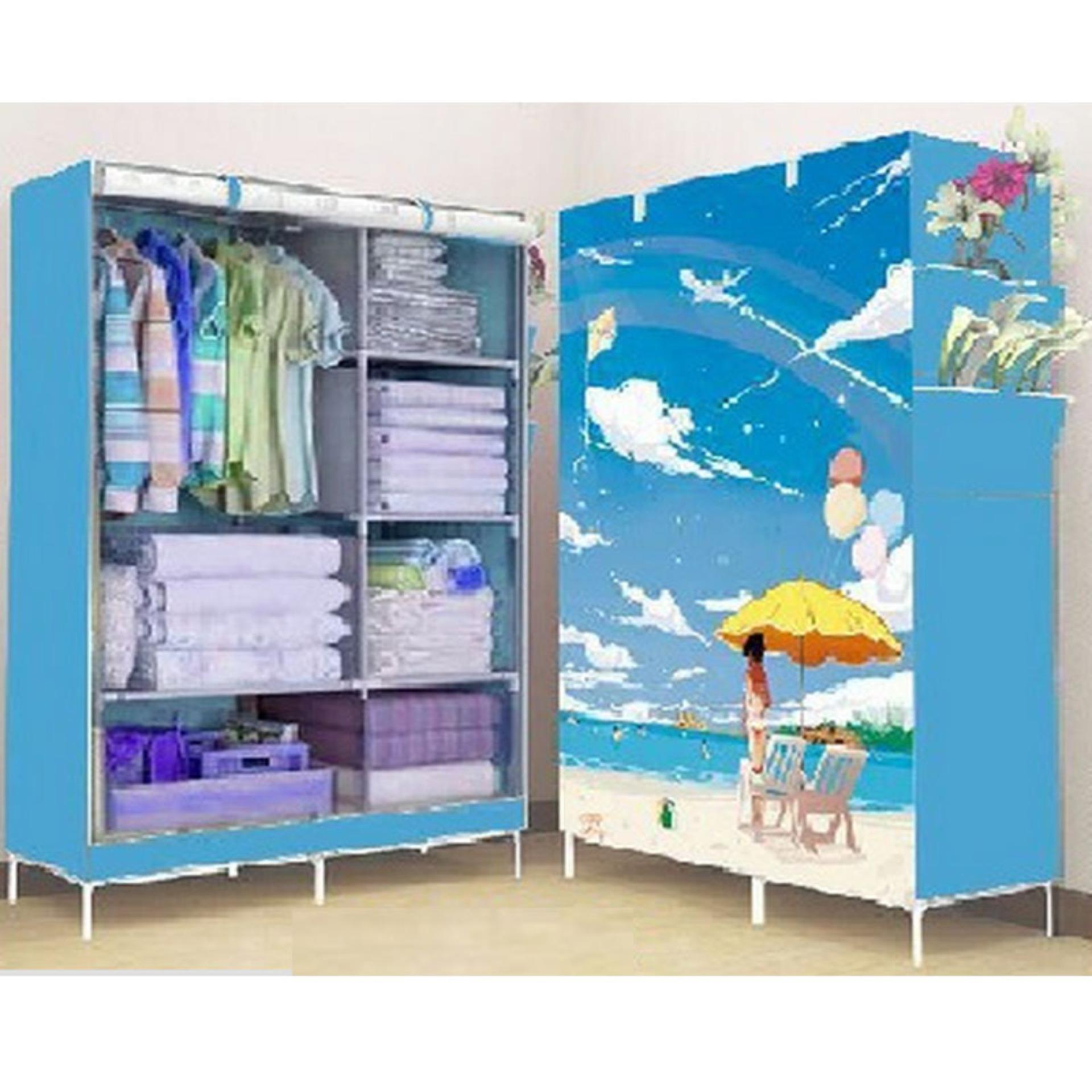 StarHome Lemari Pakaian Multifungsi dengan Tempat Gantungan Baju dan Penutup Debu - Lemari Portable Motif Pantai