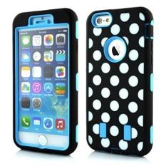 Starmall iPhone 6 Case, Enrgo iPhone 6 4.7 '(Versi 2014) Case, 3 Dalam 1 Kombo Polka Titik Tuff Hibrida Anti Guncangan Case Sarung Pelindung untuk iPhone 6 (Versi 2014) -Biru Langit-Internasional