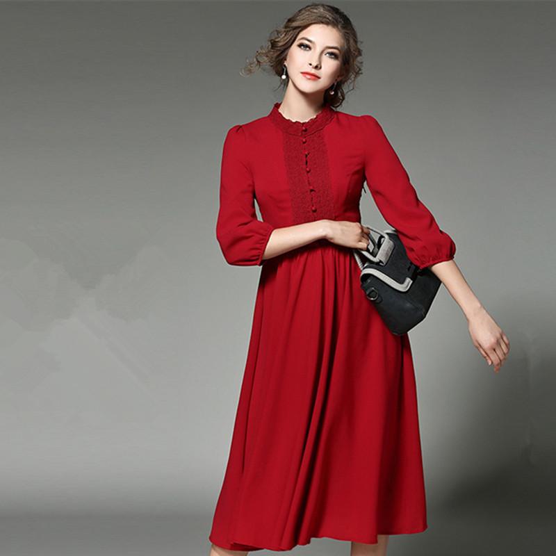 Jual Stasiun Eropa Musim Semi Baru Temperamen Slim Gaun Lentera Lengan Anggur Merah Baju Wanita Dress Wanita Gaun Wanita Oem Grosir
