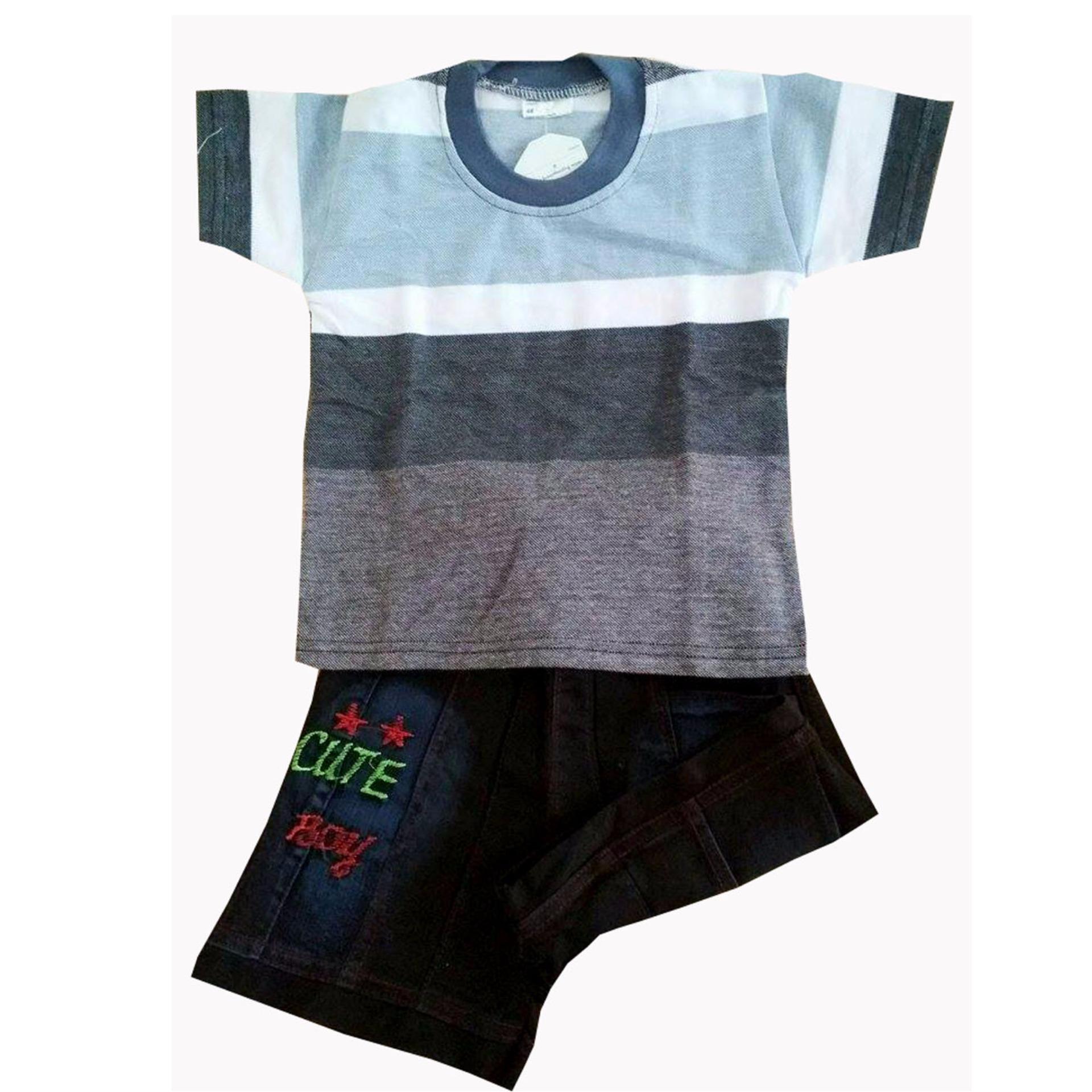 Spesifikasi Stelan Kaos Anak Boy Usia 1 Tahun Size S Terbaru