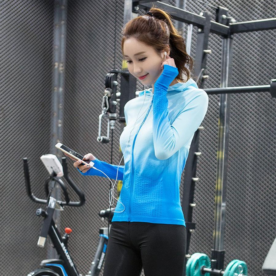 Spesifikasi Stretchy Wanita Menjalankan Olahraga Jaket Hoodie Full Zip Activewear Fitness Gym Yoga Coat Lubang Jempol Biru Intl Yang Bagus Dan Murah