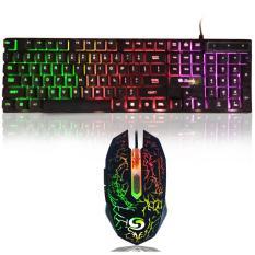 Sturdy Paketan TP822 Keyboard Semi Mechanical GM038 Mouse Gaming with LED - Hitam