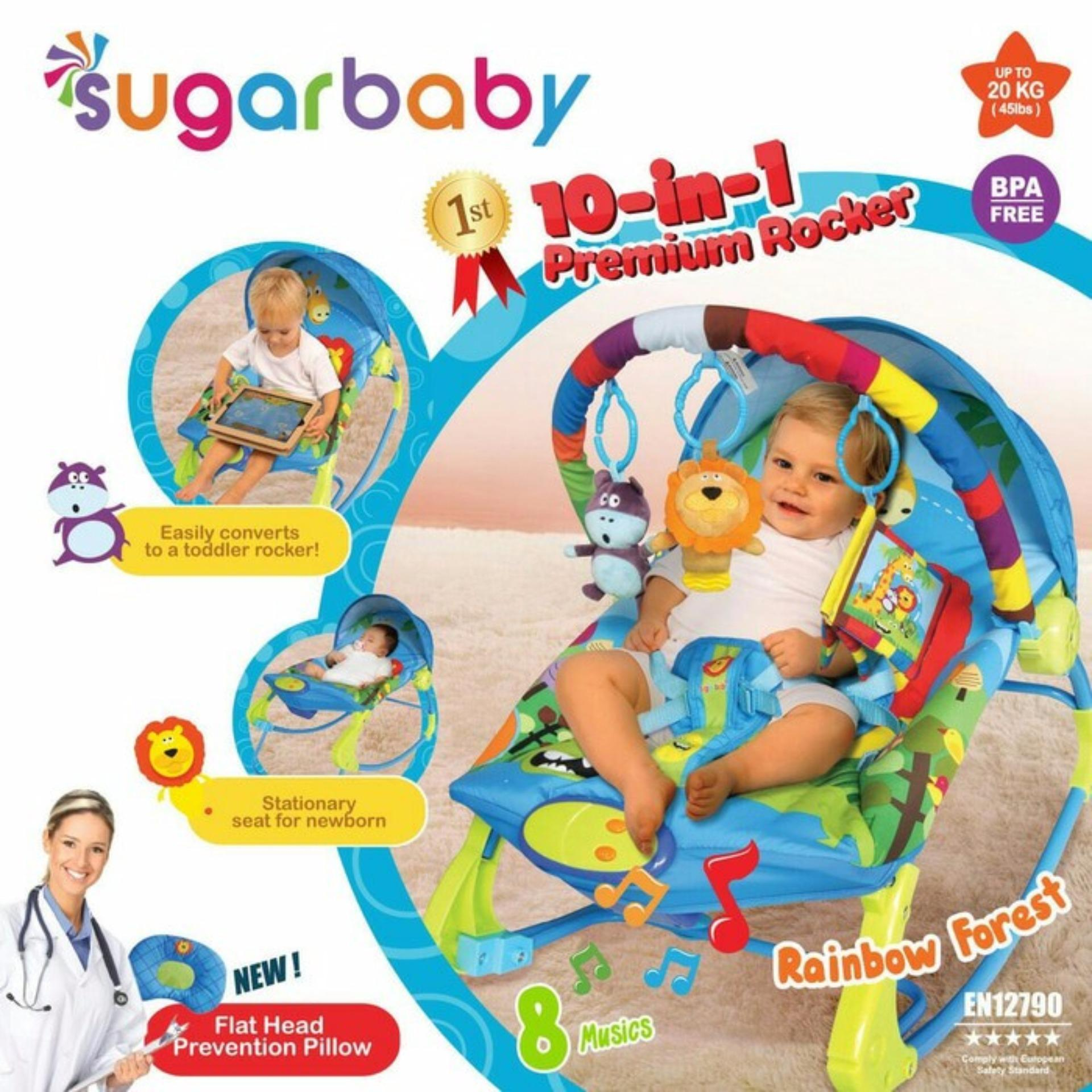Toko Sugar Baby 10 In 1 Premium Rocker Bouncer Rainbow Forest Ayunan Bayi Kursi Goyang Bayi Sugarbaby Bouncer Lengkap