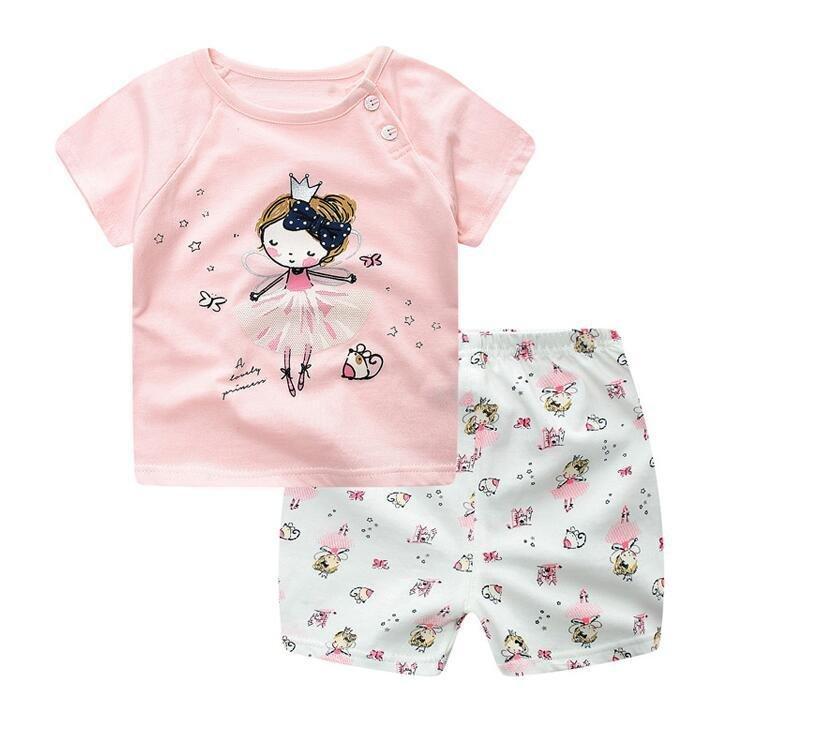 Diskon Summer Baby Boy G*Rl Pakaian Set Pendek Atasan Dan Bawahan 2 Pcs Set Kartun Sport Perapi Pakaian Set Newborn Bayi Pakaian Pink Intl Oem