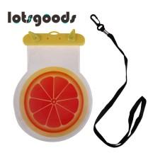Musim Panas Cute Pola Buah Waterproof 6 InchSmart Telepon Lindungi Kantung dengan Strap (Orange)-Intl