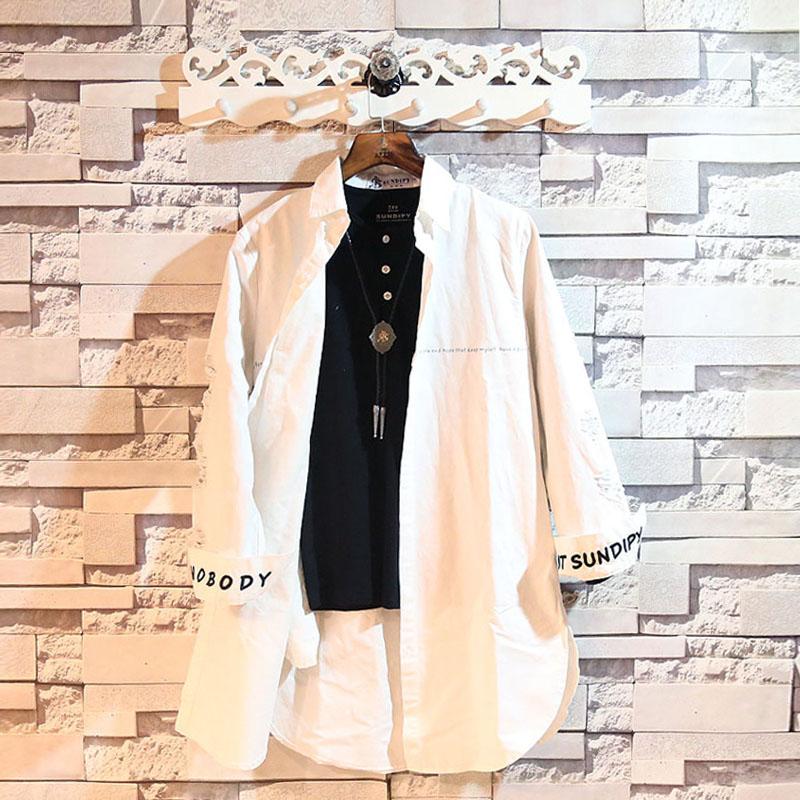 Spesifikasi Sundipy Kemeja Pria Lengan Panjang Model Setengah Panjang Membentuk Tubuh Gaya Jepang Korea Putih Baju Atasan Kaos Pria Kemeja Pria Murah