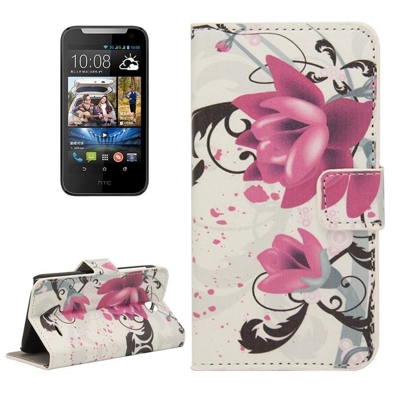 Sunsky Ungu Bunga Pola Horizontal Flip Magnetic Buckle Kulit Cover untuk HTC Desire 310 (Multicolor)-Intl