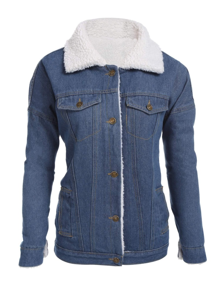 Review Sunweb Women Casual Long Sleeve Cotton Sherpa Lined Denim Jacket Blue Intl