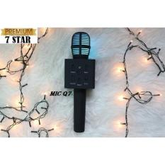 Super Premium Mic Karaoke Q7 - 1 Bluetooth Wireless Microphone With Speaker Karaoke For Karaoke & Smule Top Quality - Hitam
