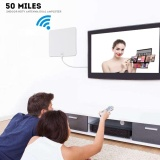 Beli Super Thin Digital Indoor Amplified Hdtv Tv Antenna 50 Mile Range With 10 Ft Coaxial Cable Intl Terbaru