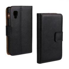 Supervalue Genuine Leather Wallet Case Skin Cover for LG Optimus L4 II (Black)