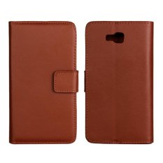 Supervalue Kasus Dompet Kulit Asli Kulit Cover untuk LG Optimus L9 II (Brown)-Intl