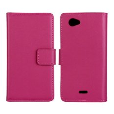 Supervalue Genuine Leather Wallet Case Skin Cover for Sony Xperia J ST26i (Rose) - intl