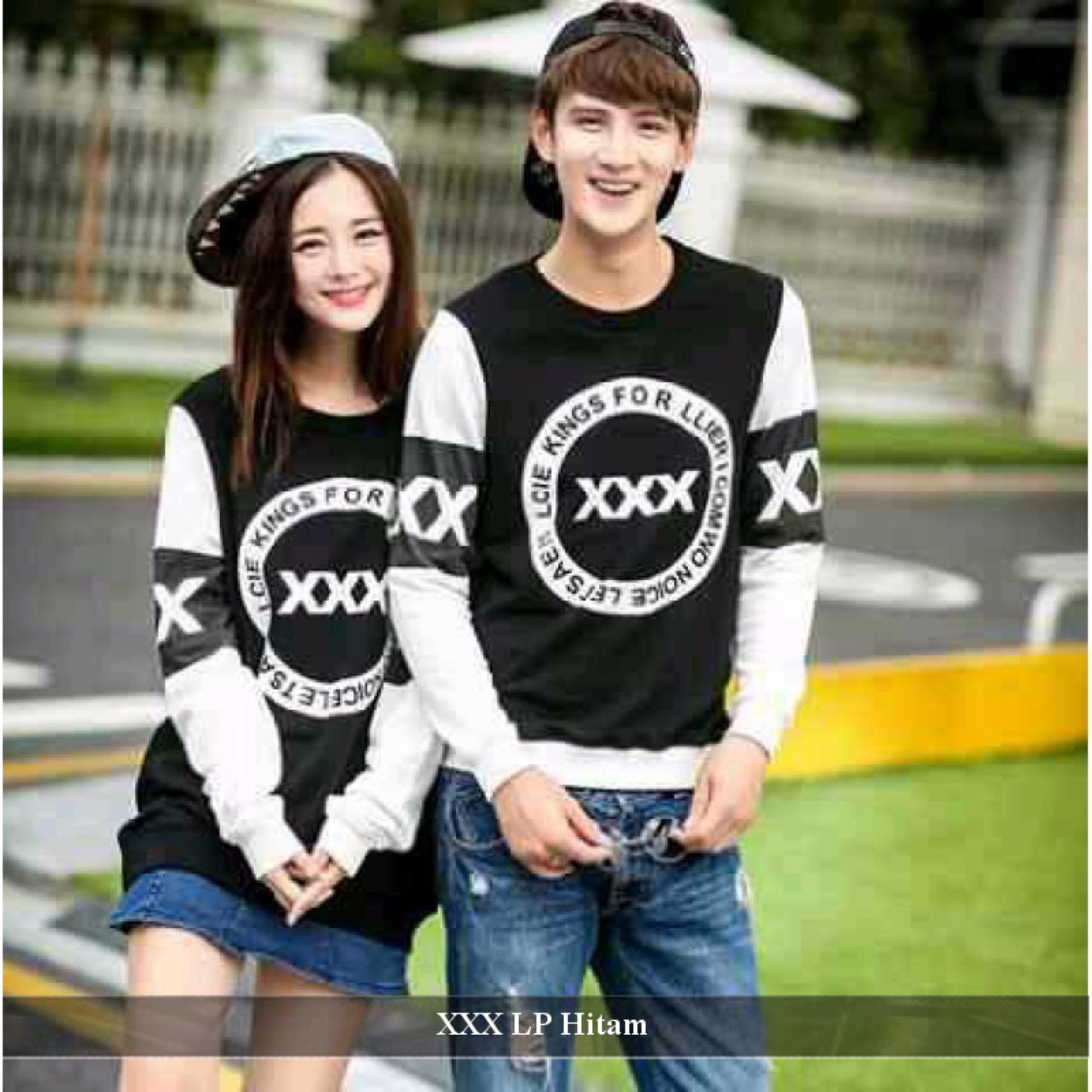 Supplier Kaos Couple - Baju Couple Murah - Baju Couple XXX Lengan Panjang Hitam