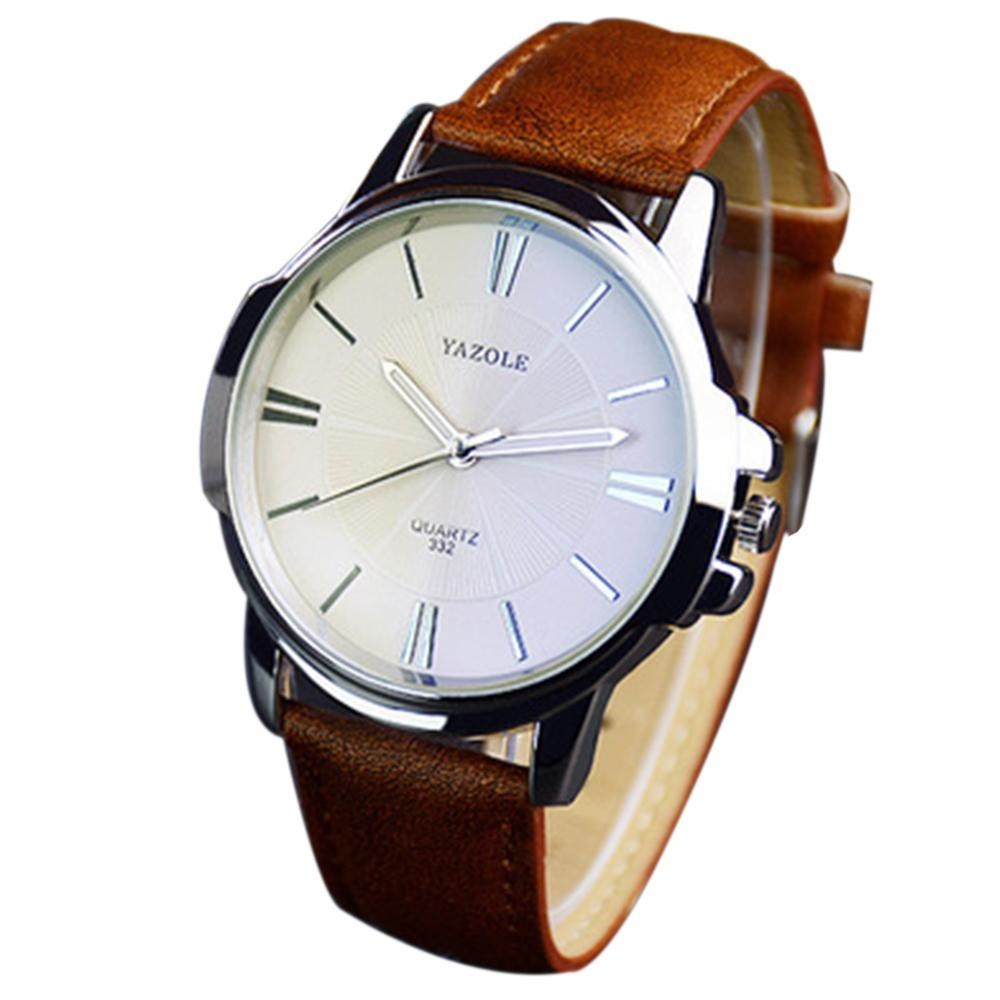 Svoovs Pria Fashion Desain Retro Kulit Band OG Alloy QUARTZ Wrist Watch Vintage Jam Tangan-Intl