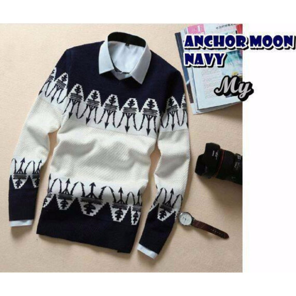 sweater pria rajut-ANCHOR MOON NAVY-rajut terbaru-Sweater tribal