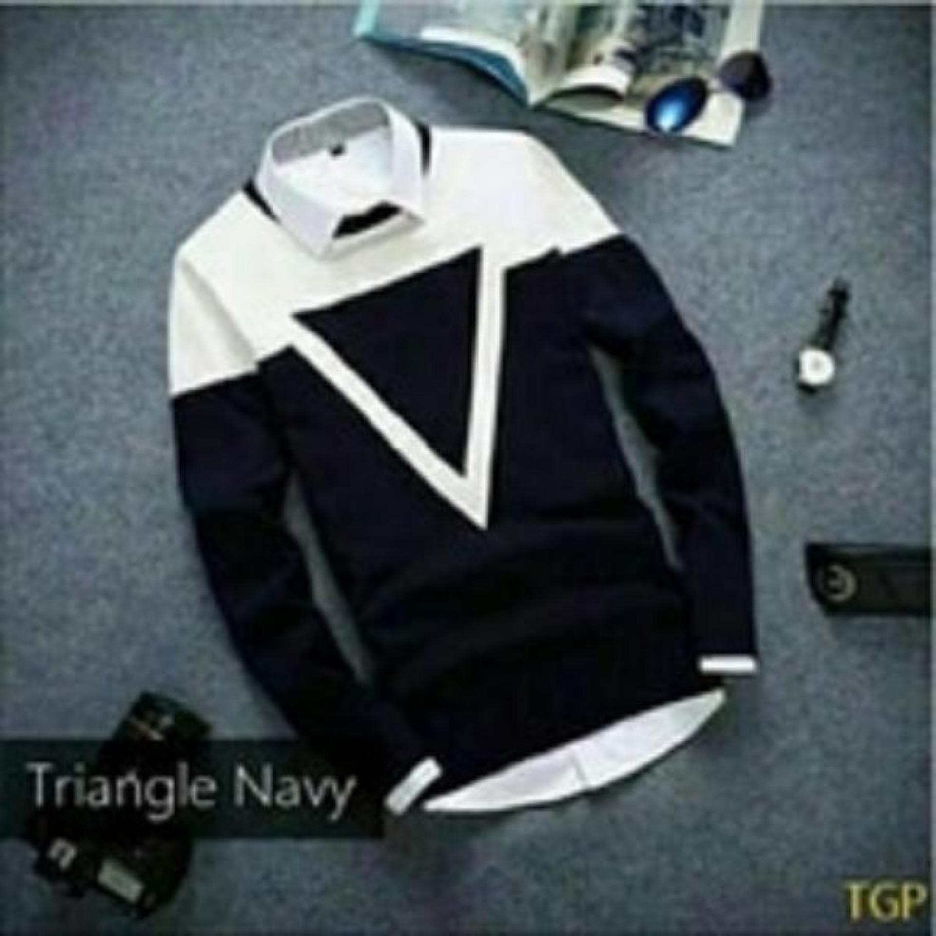 Sweater Pria Lengkap Termodis Switer Rajut Best Seller Azuma Premium Trianggel Navy Tribal