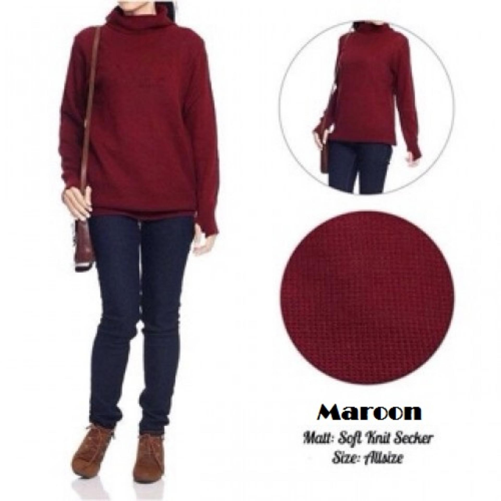 Sweater Roundhand Turtle Neck Secker Sweater Baju Hangat Rajut Premium Tebal Rajut Maroon Original