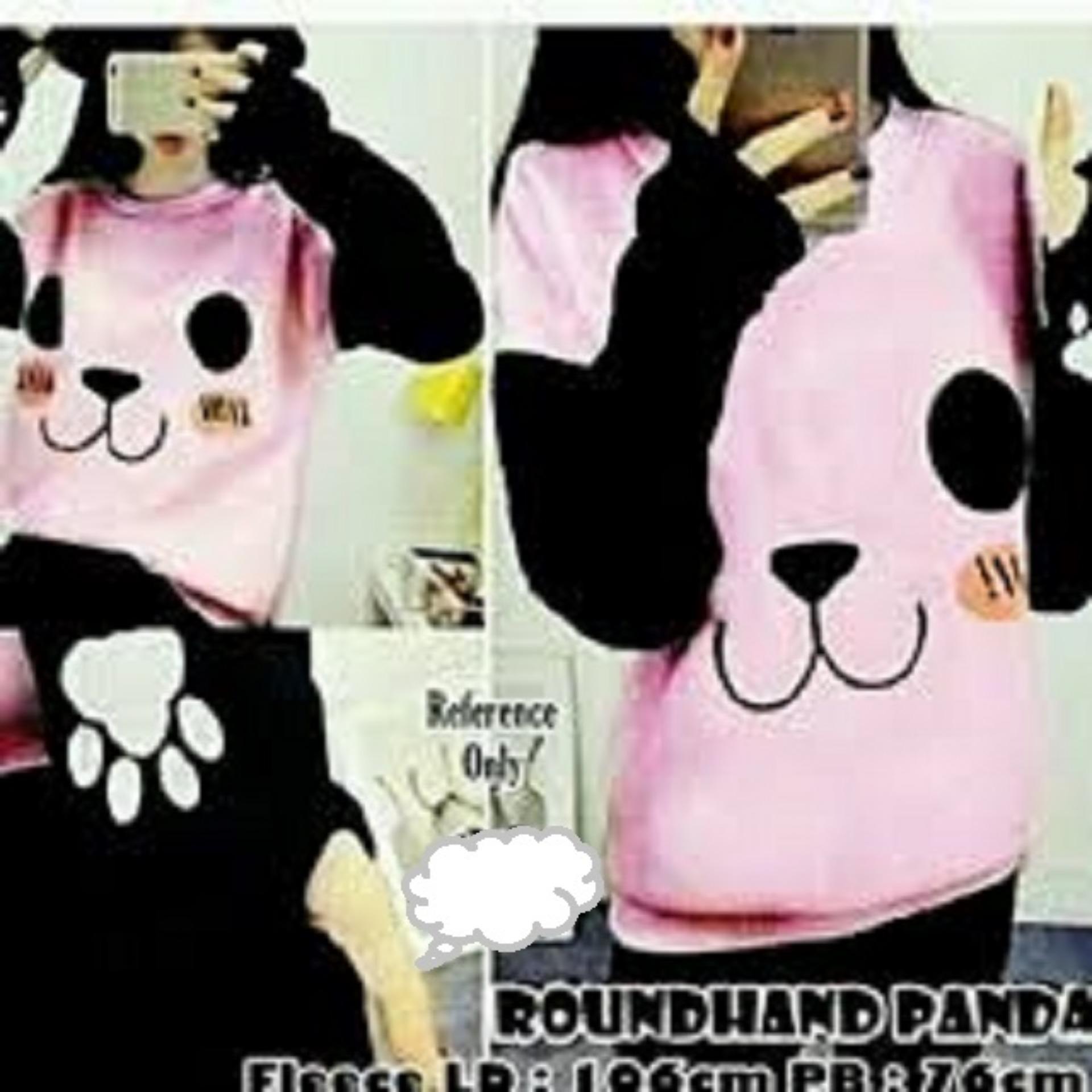 Jual Sweater Wanita Roundhand Panda Good Quality Pink Grosir