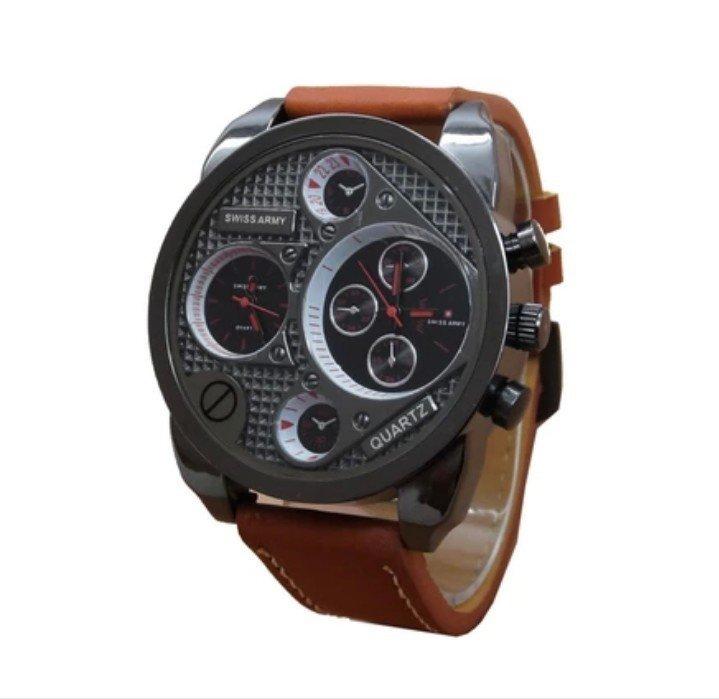 Jual Swiss Army Dual Time Jam Tangan Pria Leather Strap Sa 1171 Swiss Army Original