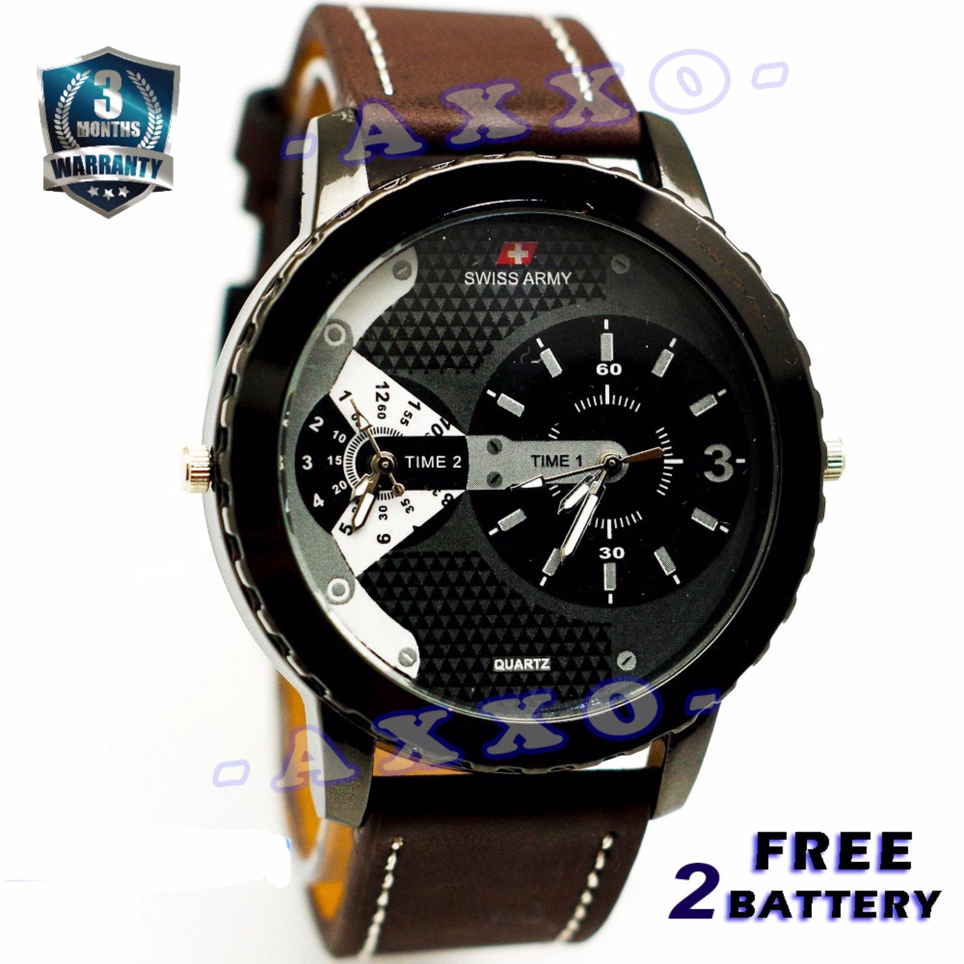 Swiss Army Dual Time - Jam Tangan Pria - Strap Kulit - Coklat Tua Variasi Putih - SA 0047