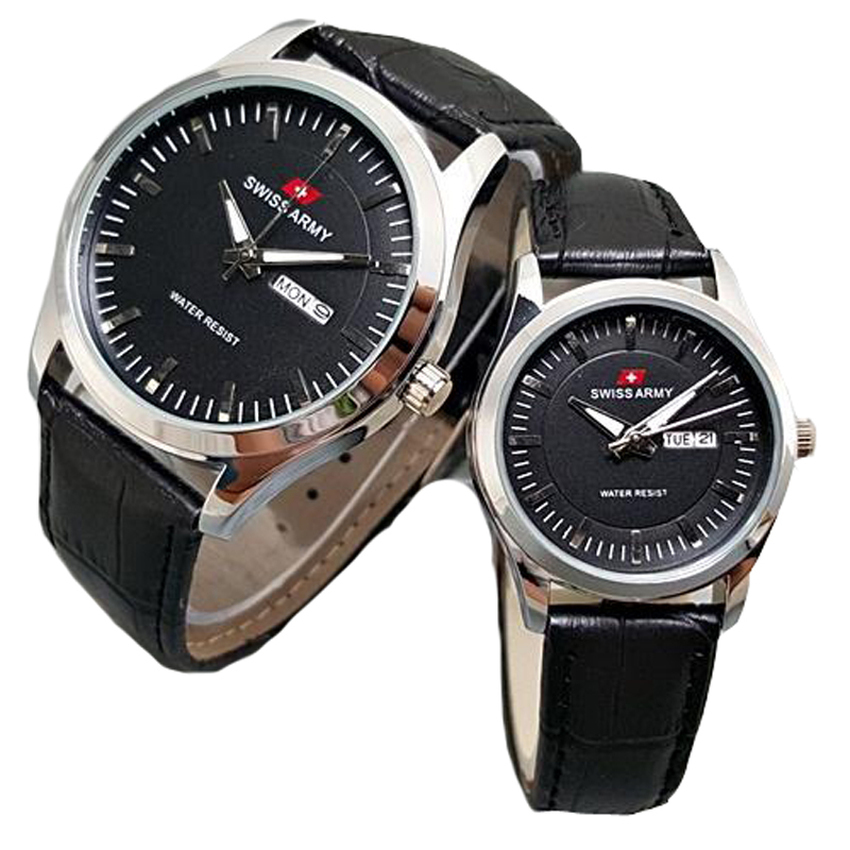 Jual Beli Swiss Army Jam Tangan Couple Leather Strap Sa 1576 Silver Black Di Jawa Barat