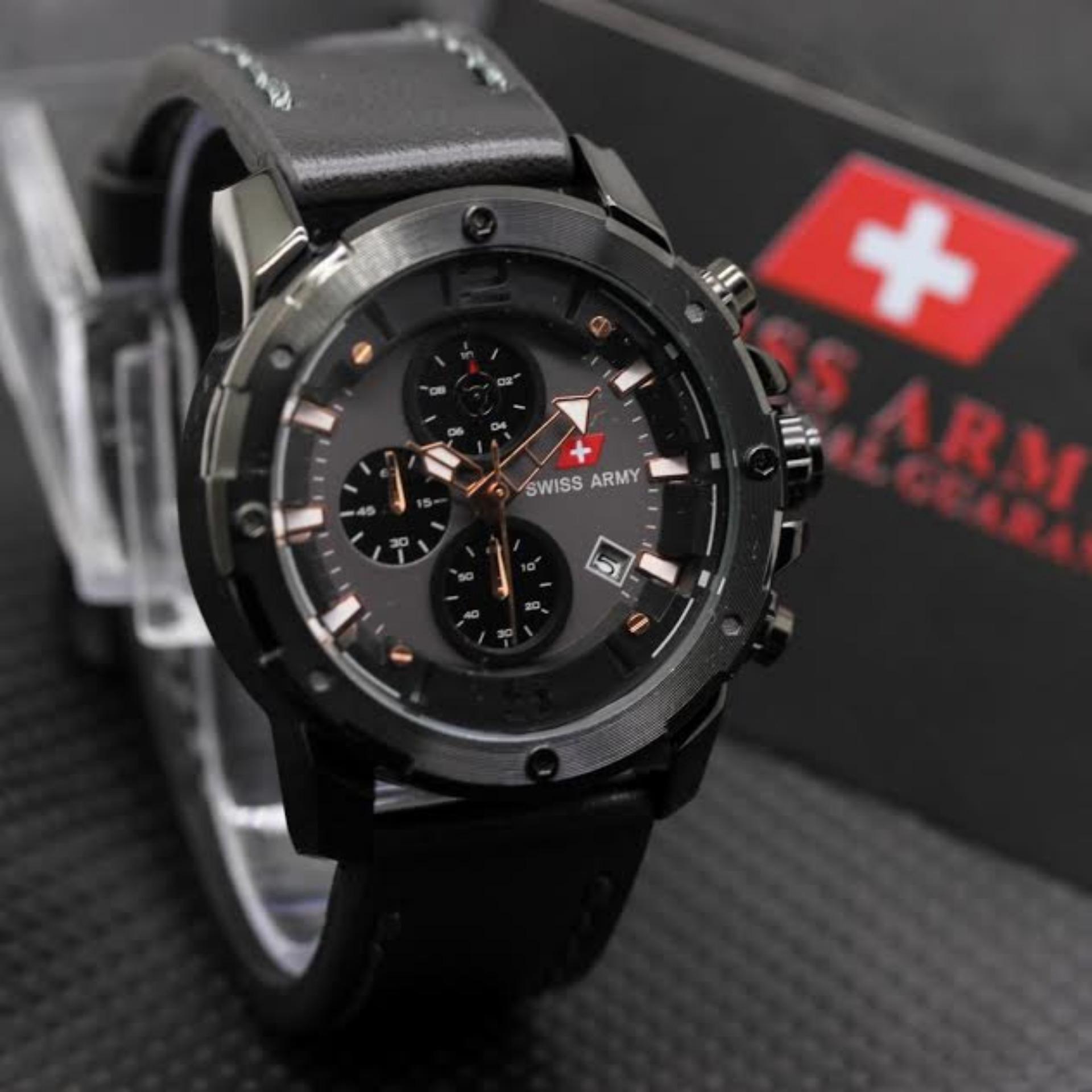 Toko Swiss Army Jam Tangan Pria Leather Strap Chrono Aktif Sa 7329 Lengkap Di Dki Jakarta