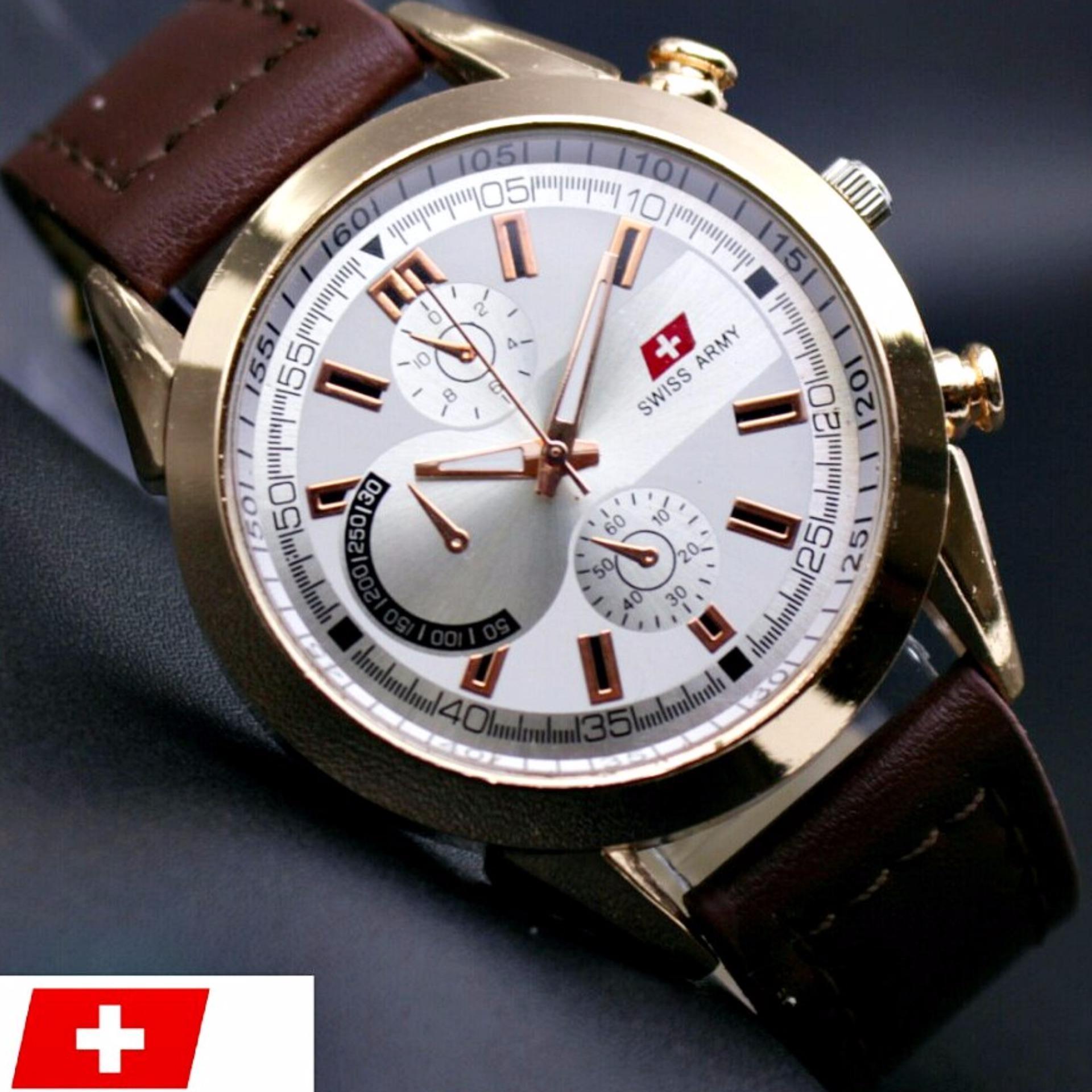 Harga Swiss Army Jam Tangan Pria Leather Strap Sa1219Z Tali Kulit Yang Murah
