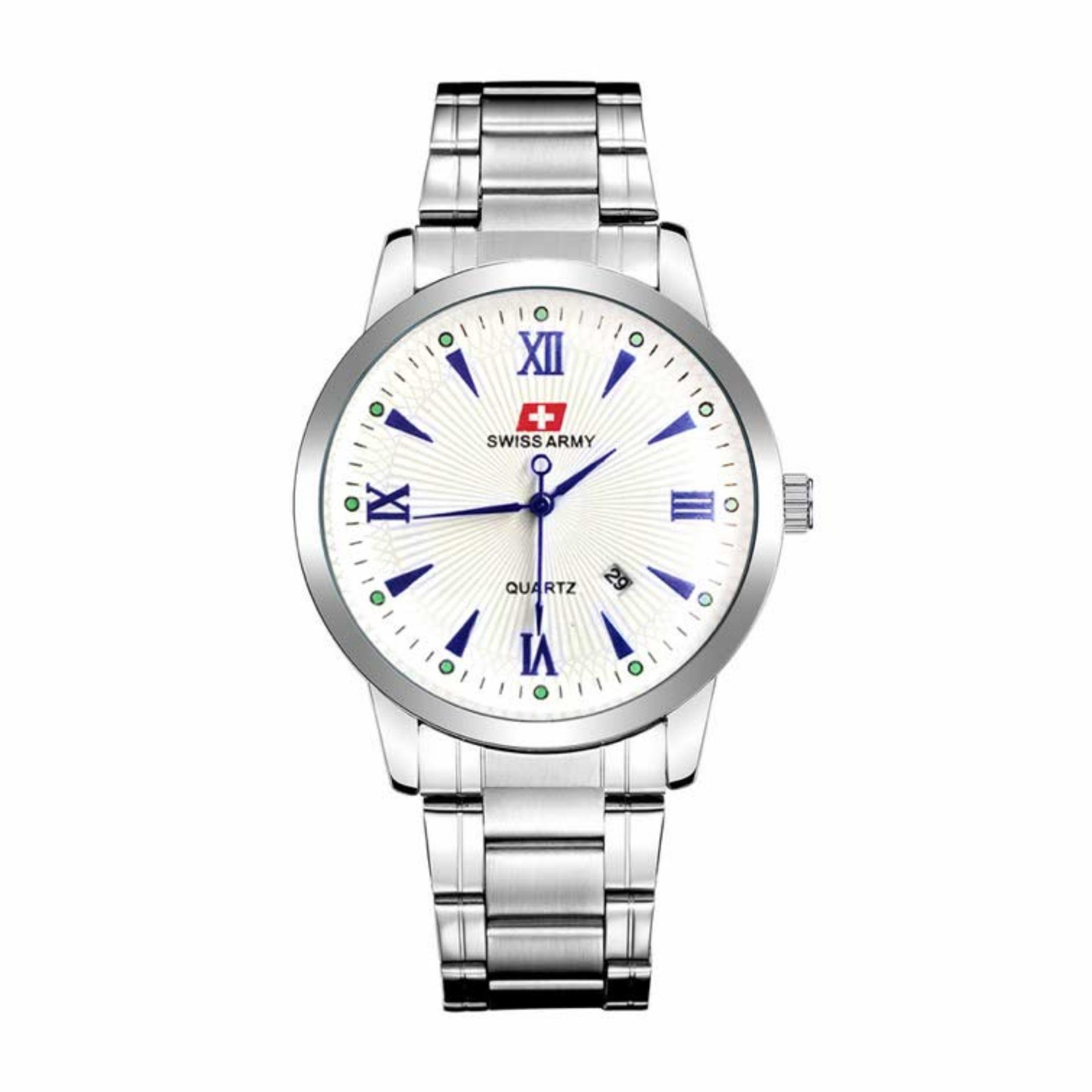 Swiss Army Original - High Quality - Jam Tangan Pria dan Wanita - Strap Stainless Steel - 40 mm