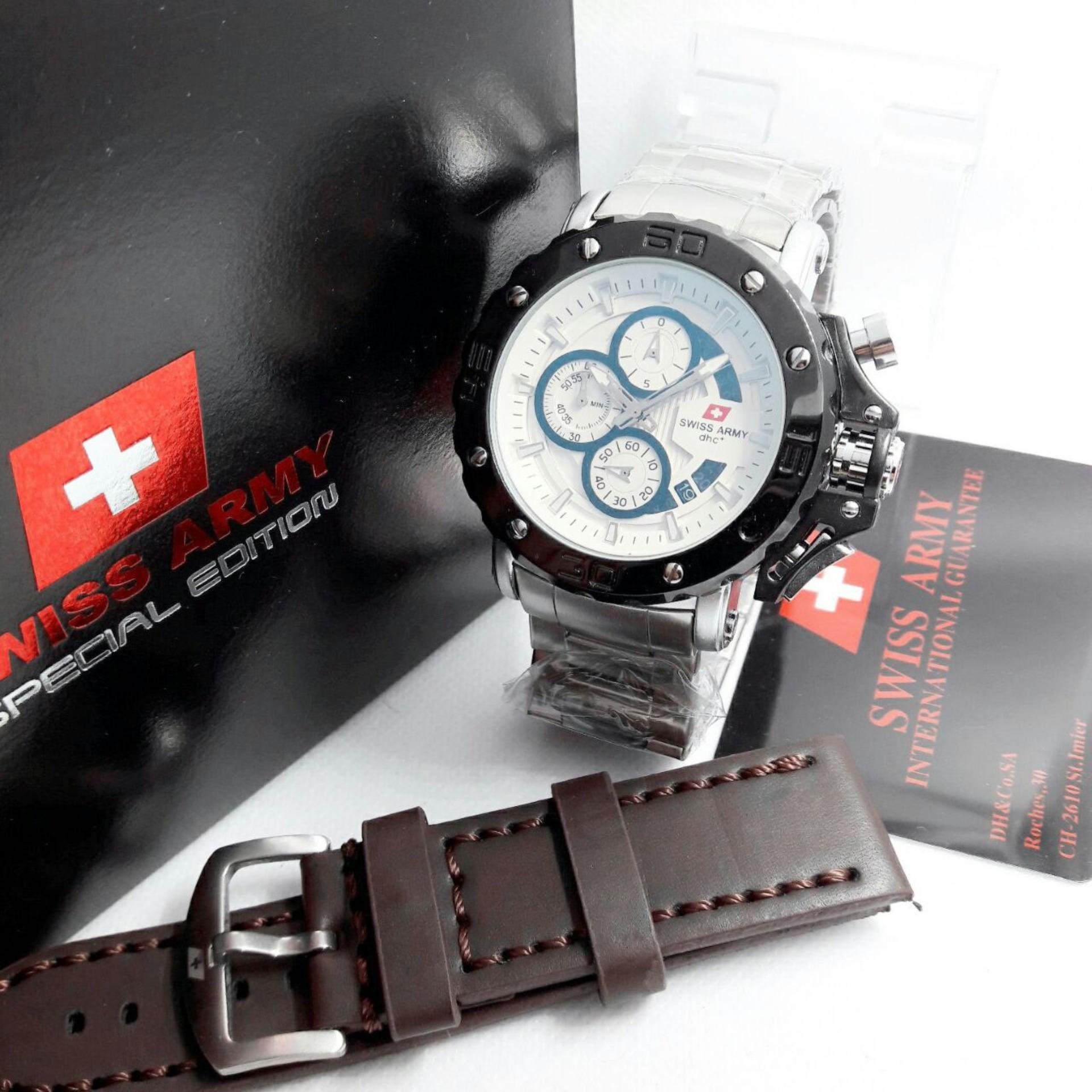Jam Tangan Swiss Army Dhc .SA3079MR Pria Full Black Original/Gransi 1 Thn.