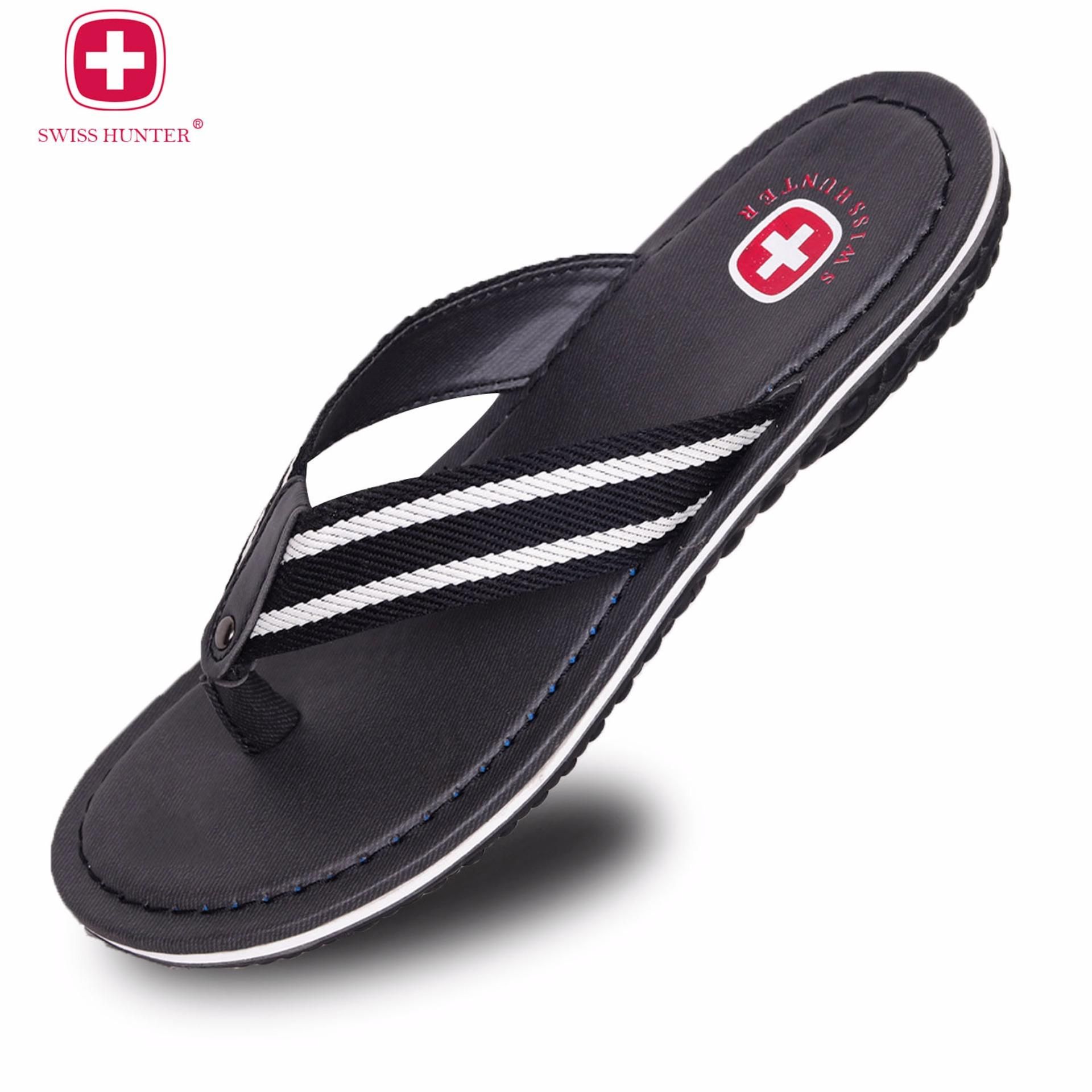 Swiss Hunter Russel Sandal Pria Black Murah