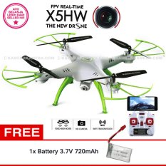Promo Syma Drone X5Hw Wifi Fpv Real Time White Hd 2 0Mp Altitude Hold Battery Syma 3 7V 720Mah Murah