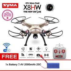 Syma X8HW with Camera Drone [Hold Wifi/Live View/2 MP] + Battery Syma X8HW 7.4V 2000mAh 25C