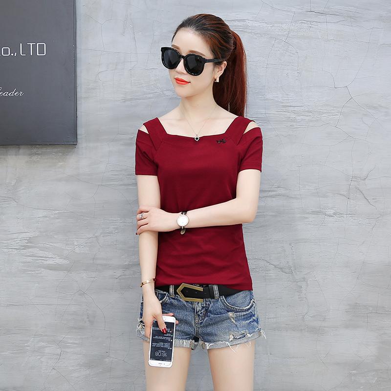 Spek Korea Fashion Style Baru Terlihat Langsing Kaos Anggur Merah